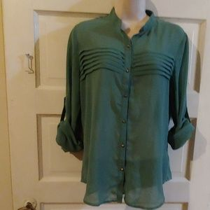 Forever 21 3/4 Sleeve Sheer Green Top M